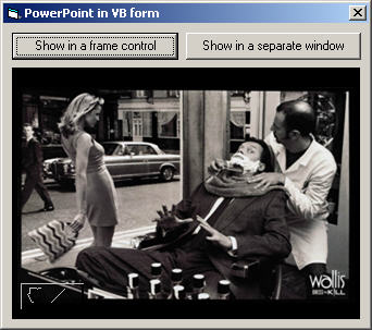 Display PowerPoint slide show within a VB form or control window